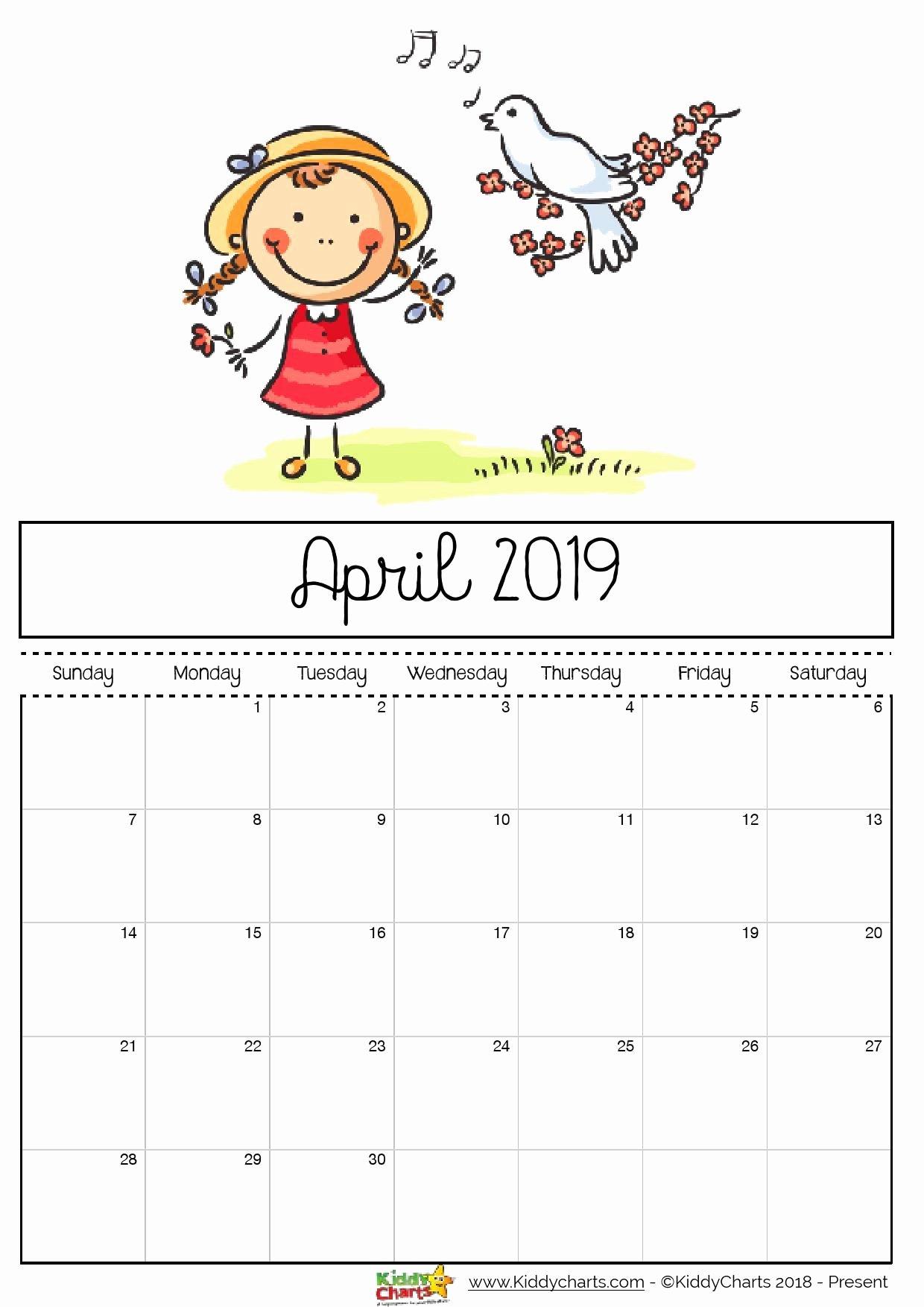 2019 Cute Calendar Printable Fresh Free Printable 2019 Calendar for Kids Rajzok