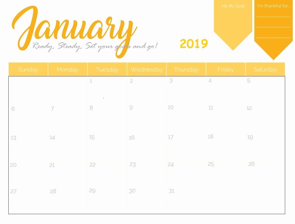 2019 Cute Calendar Printable Inspirational January 2019 Calendar