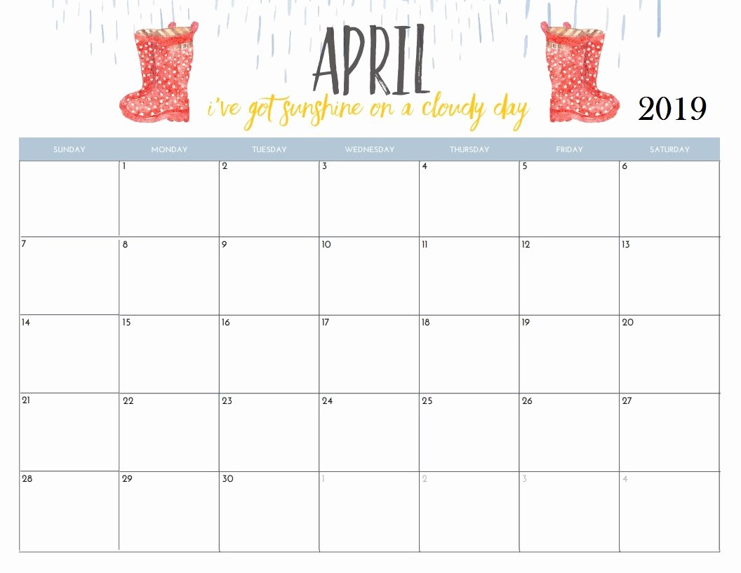 2019 Cute Calendar Printable Lovely April 2019 Calendar Cute – Printable Year Calendar
