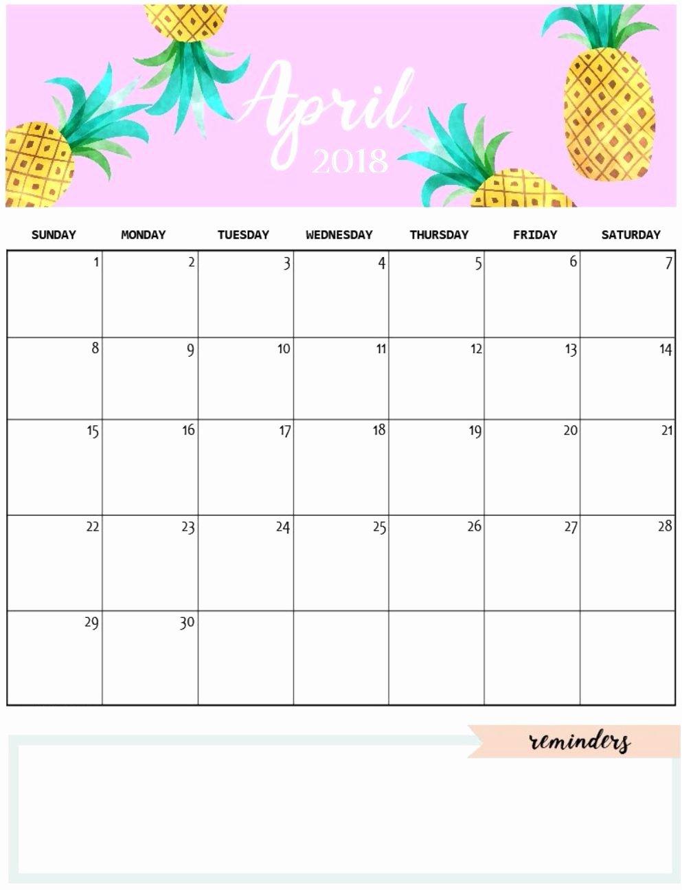 2019 Cute Calendar Printable Lovely Cute April 2018 Calendar Template Calendars