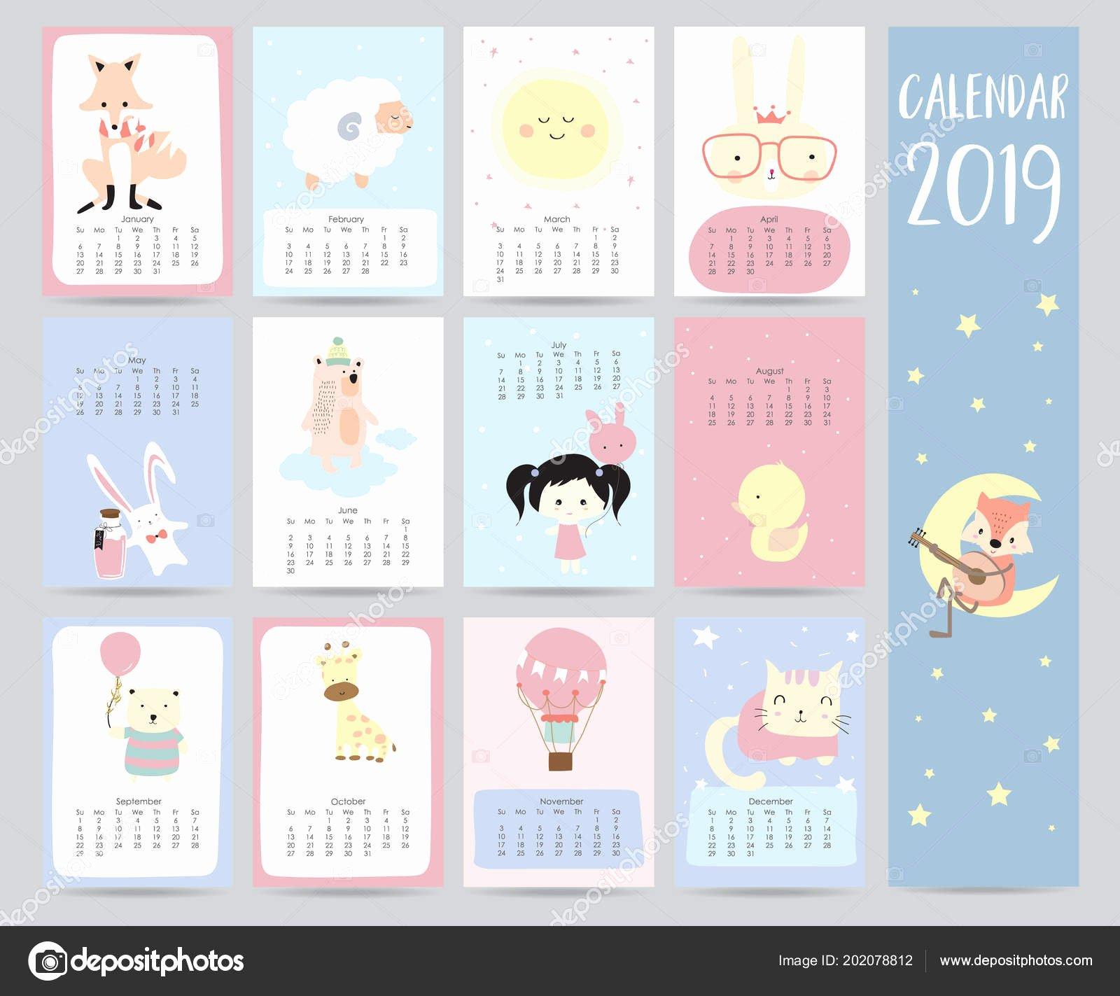 2019 Cute Calendar Printable Lovely Cute Monthly Calendar 2019 Fox Sheep Moon Rabbit Girl Bear