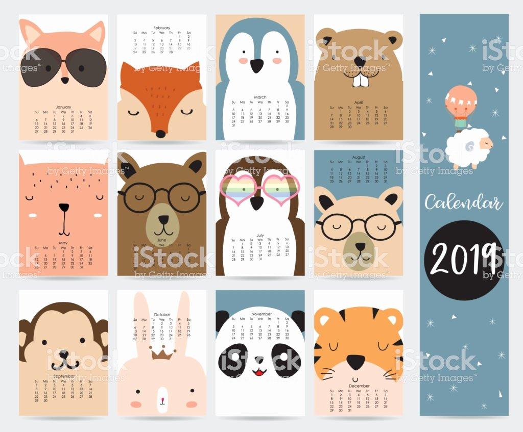 2019 Cute Calendar Printable Lovely Cute Monthly Calendar 2019 with