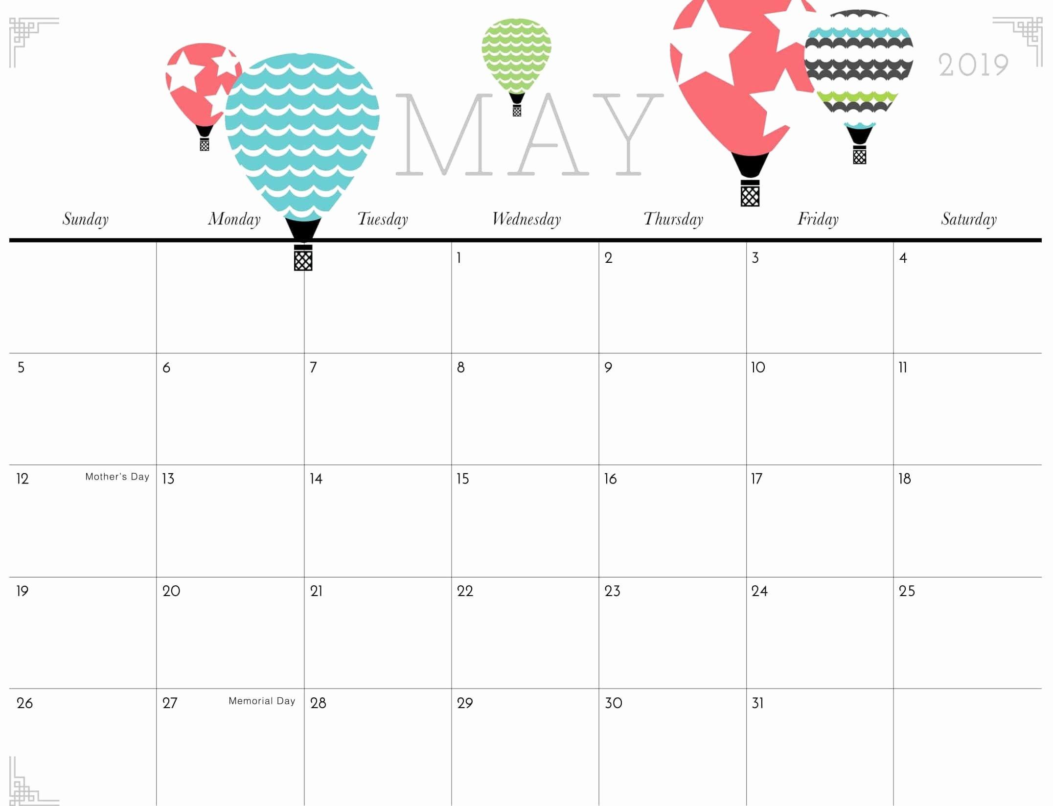 2019 Cute Calendar Printable New Cute May 2019 Calendar Printable for Kids