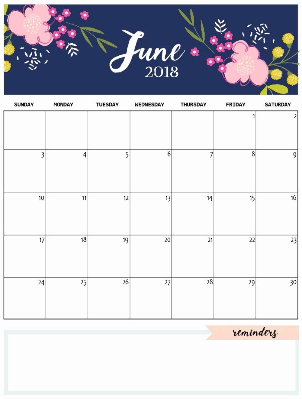 2019 Cute Calendar Printable New June 2018 Cute Calendar Maxcalendars