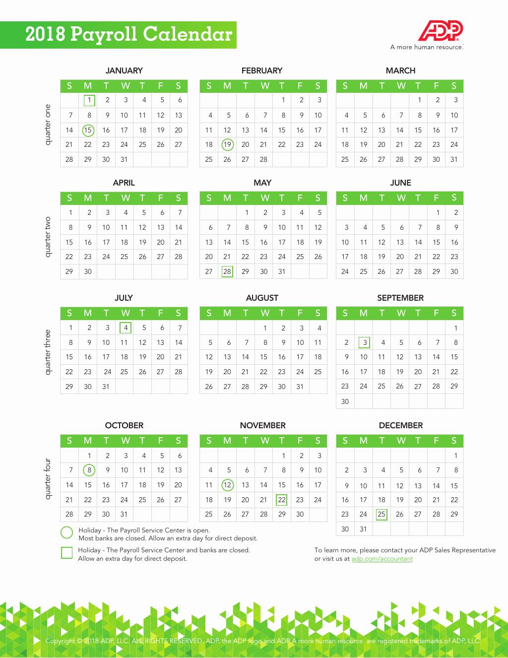 2019 Payroll Calendar Template Awesome Adp Biweekly Payroll Calendar 2019