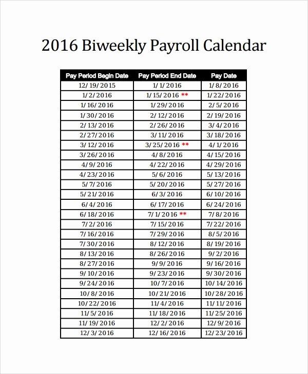 2019 Payroll Calendar Template Fresh 2016 Bi Weekly Payroll Calendar Adp Bing Images