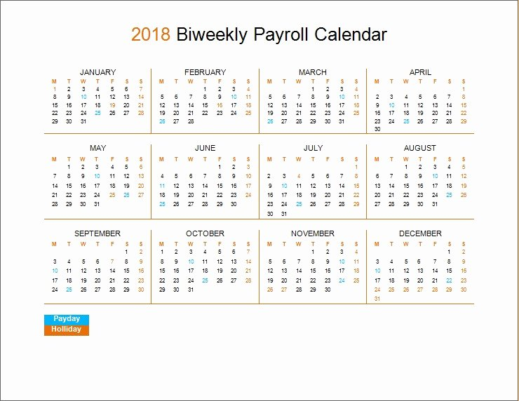 2019 Payroll Calendar Template Fresh 2018 Biweekly Payroll Calendar Template