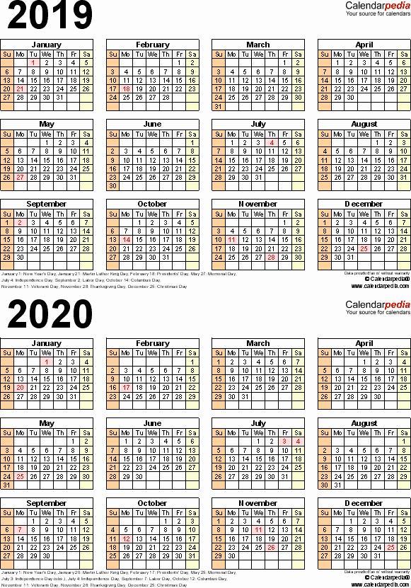 2019 Payroll Calendar Template New 2019 2020 Calendar Free Printable Two Year Word Calendars