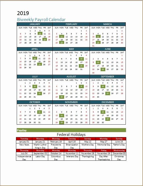 2019 Payroll Calendar Template Unique 2018 Biweekly Payroll Calendar Template