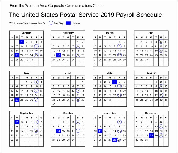 2019 Payroll Calendar Template Unique Your Postal Blog