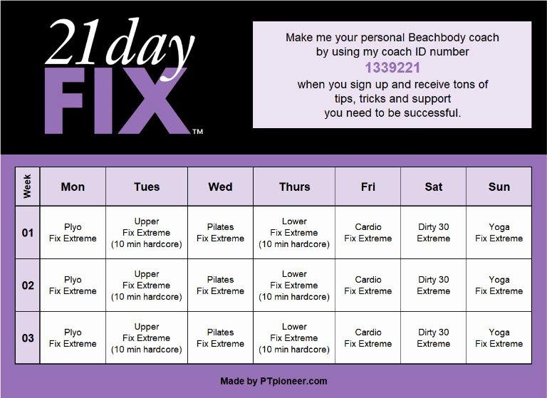 21 Day Fix Calendar Template Beautiful 21 Day Fix Calendar