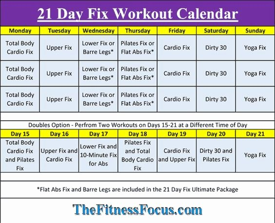 21 Day Fix Calendar Template Beautiful 21 Day Fix Workout Schedule & Portion Control Diet Sheets