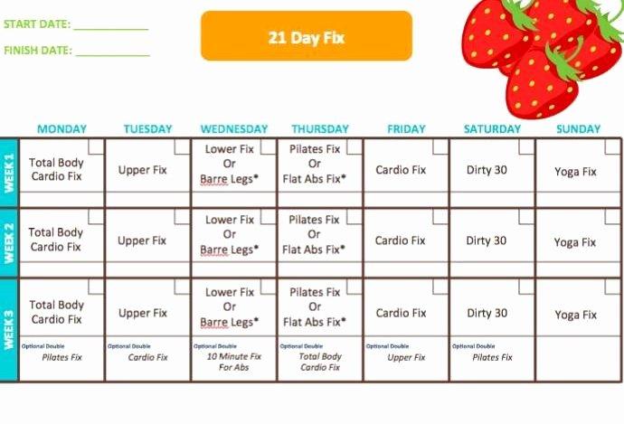 21 Day Fix Calendar Template Best Of 21 Day Fix Calendar Workout Schedule