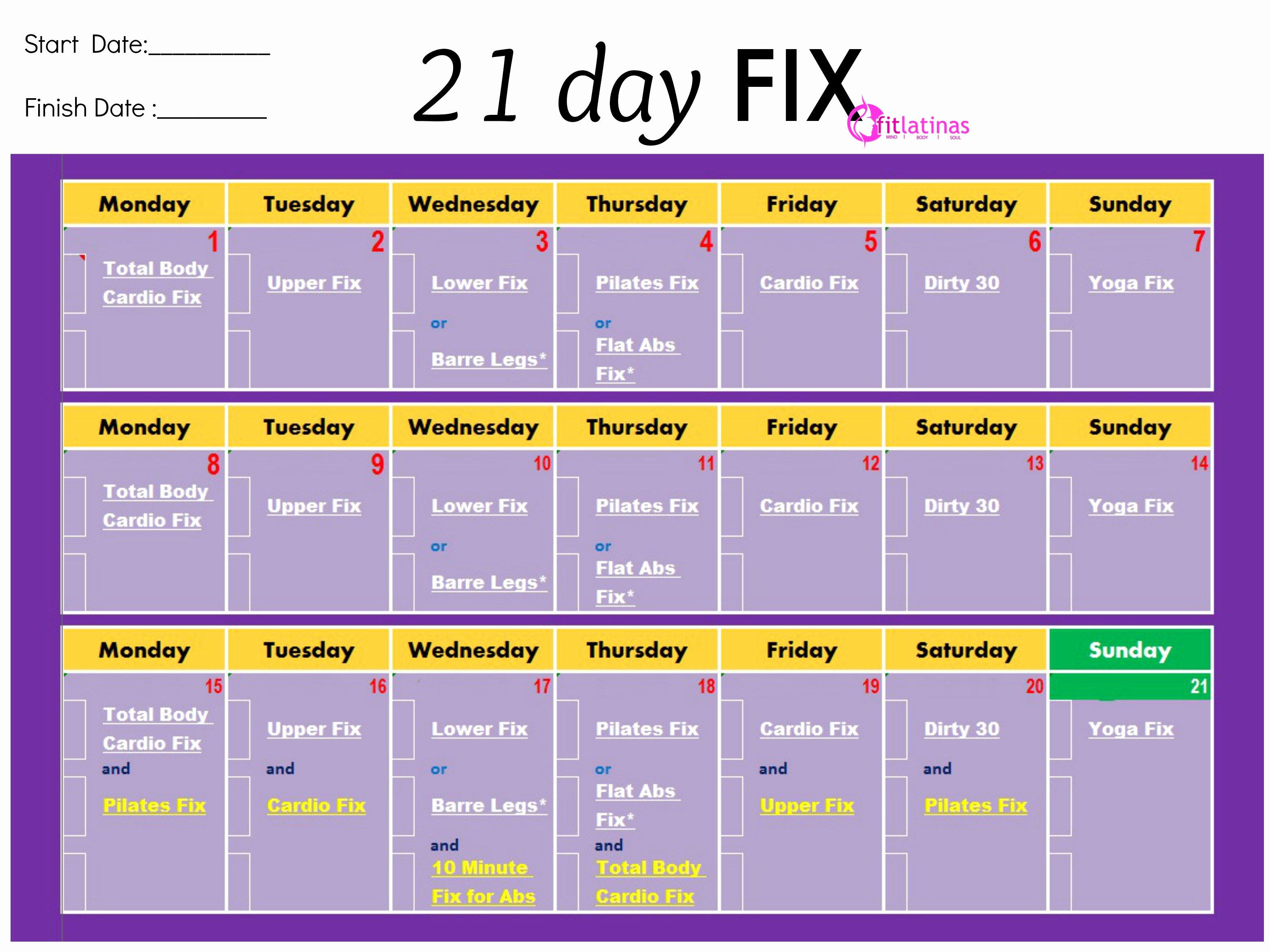 21 Day Fix Calendar Template Best Of Fit Latinas Munity
