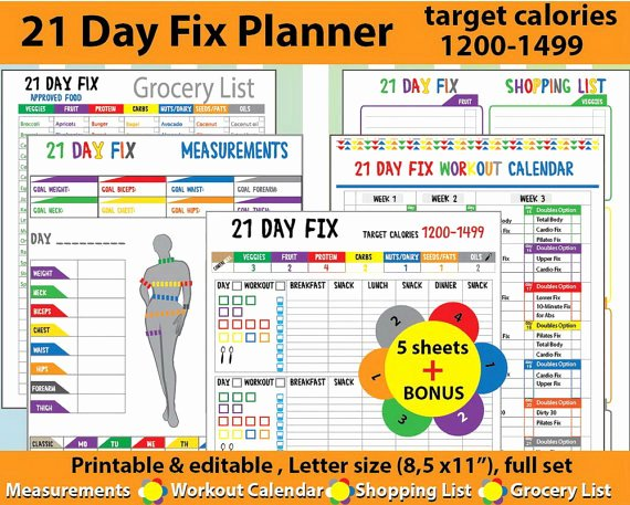 21 Day Fix Calendar Template Best Of Printable Health and Fitness Planners and Printable