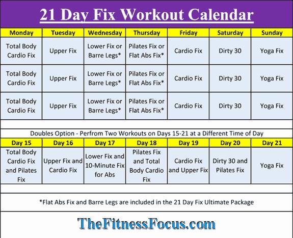21 Day Fix Calendar Template Elegant 21 Day Fix