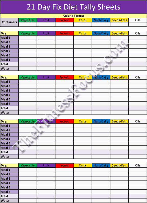 21 Day Fix Calendar Template Elegant 21 Day Fix Workout Schedule & Portion Control Diet Sheets