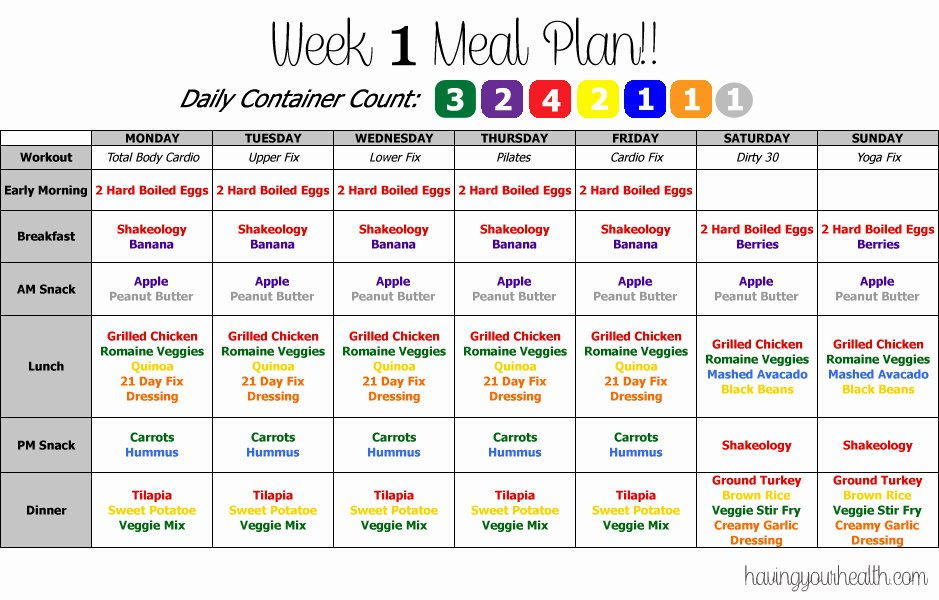 21 Day Fix Calendar Template Fresh 21 Day Fix – Weekly Meal Planning