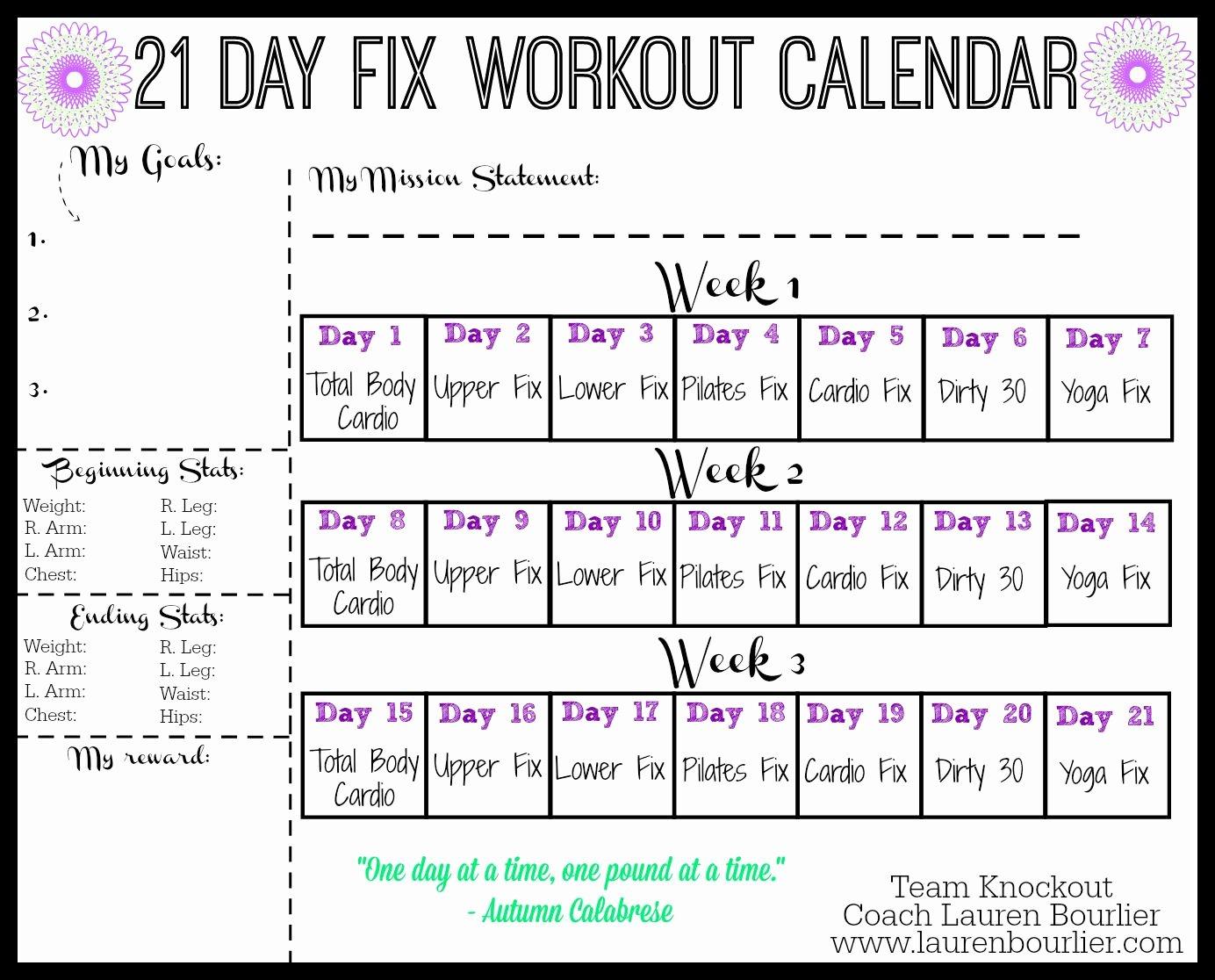 21 Day Fix Calendar Template Fresh 21 Day Fix Workout Calendar Lauren Bourlier