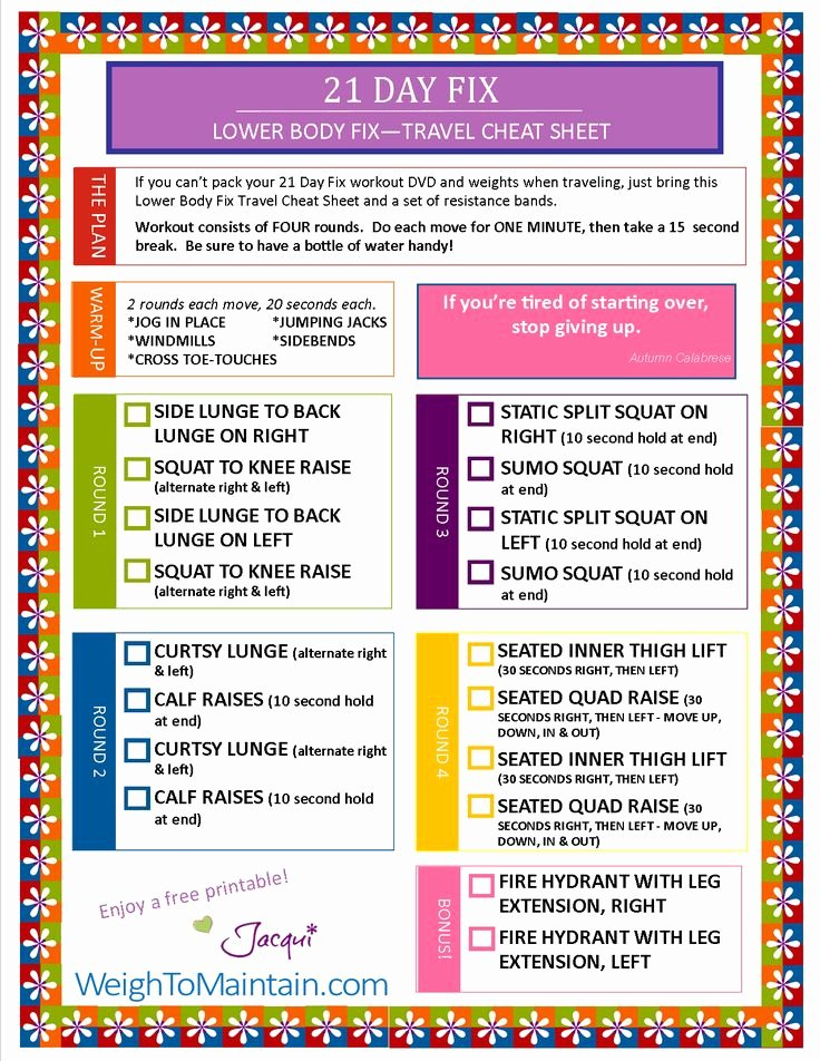 21 Day Fix Calendar Template Lovely Free Printable Pdf Of the Beachbody 21 Day Fix Workout