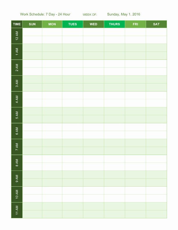 24 Hour Schedule Template Beautiful Free Work Schedule Templates for Word and Excel