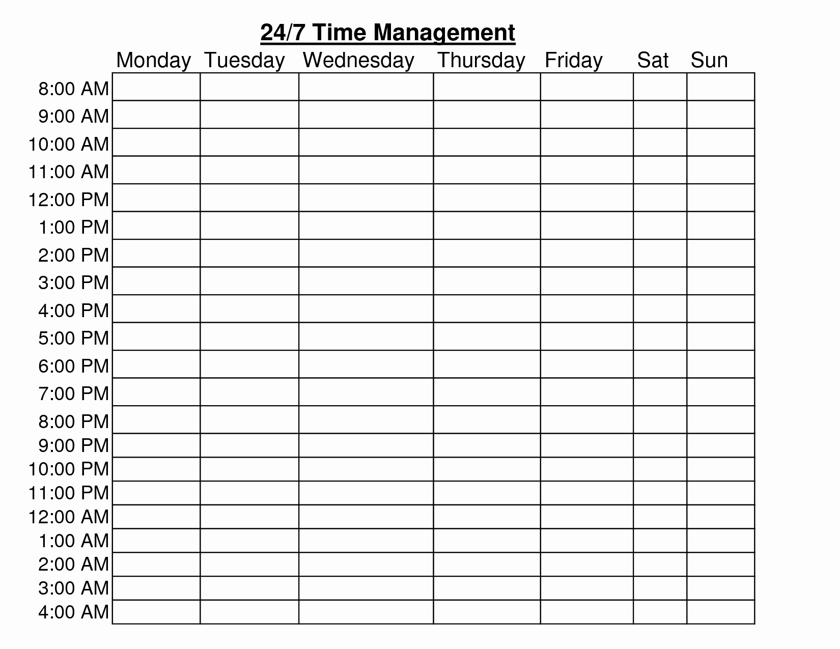 24 Hour Schedule Template Elegant 24 Hour Time Management Chart Templates