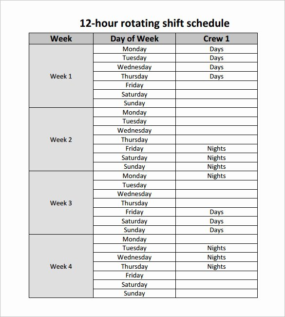 24 Hour Schedule Template New 24 Hour Rotating Shift Schedule Examples Templates