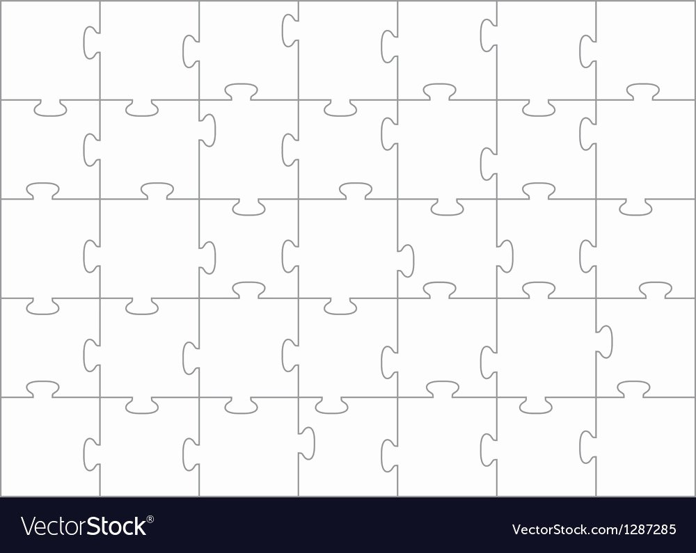30 Piece Puzzle Template Best Of Jigsaw Puzzle Template 35 Pieces Royalty Free Vector Image