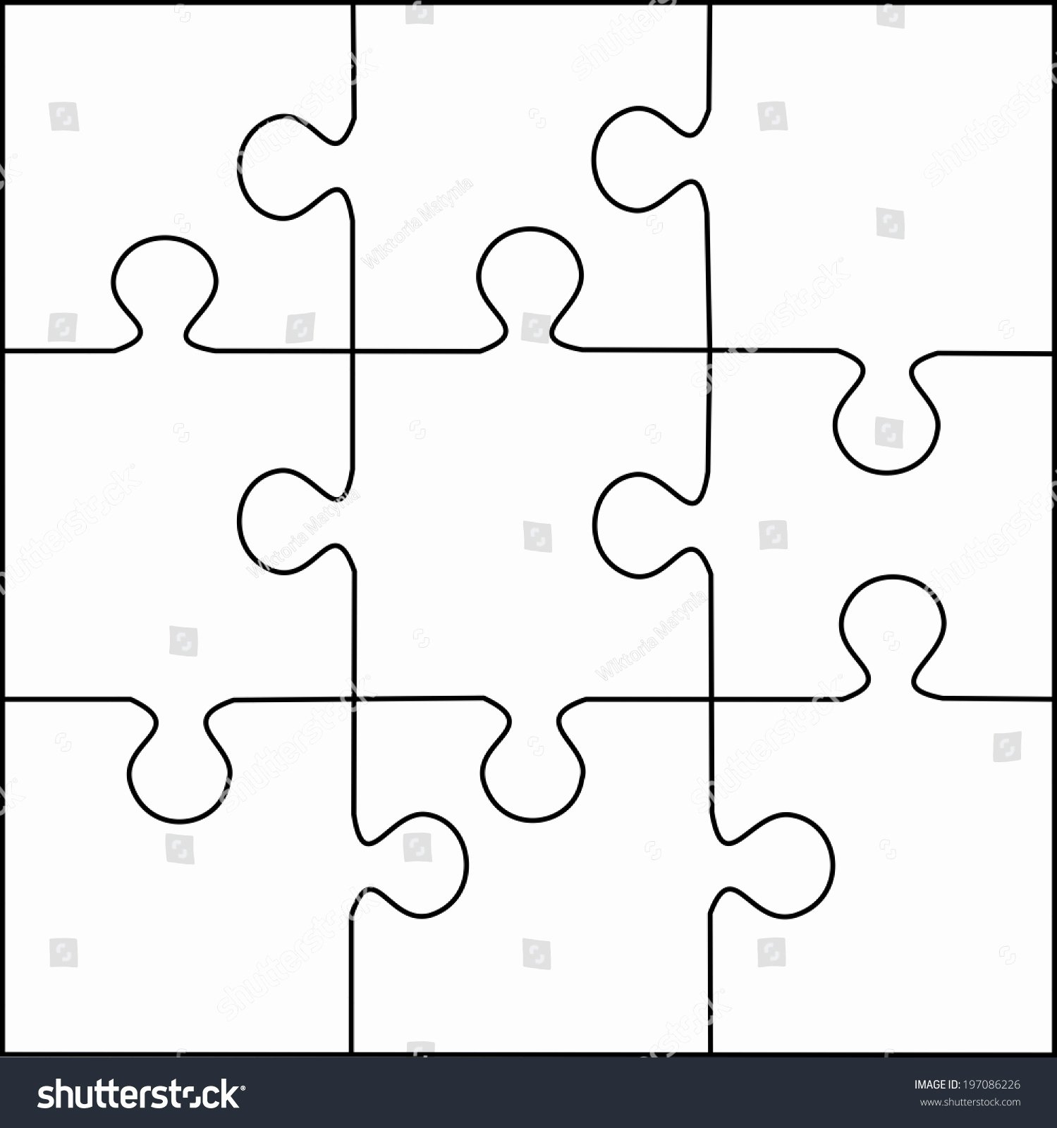 30 Piece Puzzle Template Inspirational Puzzle Template 9 Pieces Vector Stock Vector