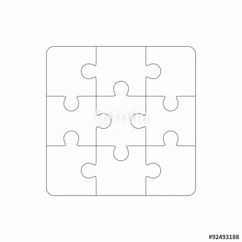 "30 Piece Puzzle Template New ""jigsaw Puzzle Blank Template Of Nine Pieces"" Stock Image"
