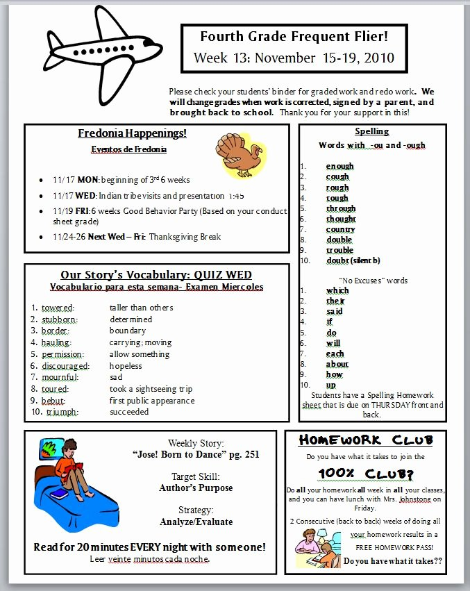 3rd Grade Newsletter Template Awesome Best S Of Newsletter Examples Grade 1 Classroom