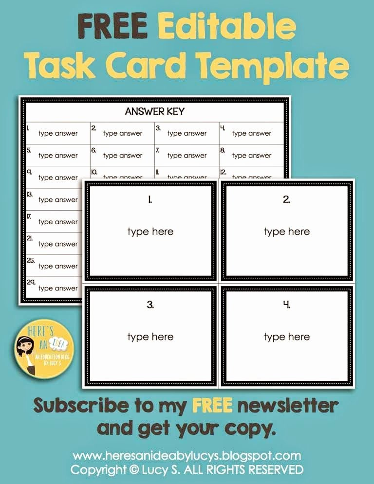 3rd Grade Newsletter Template Awesome Editable Task Card Template Free for Newsletter