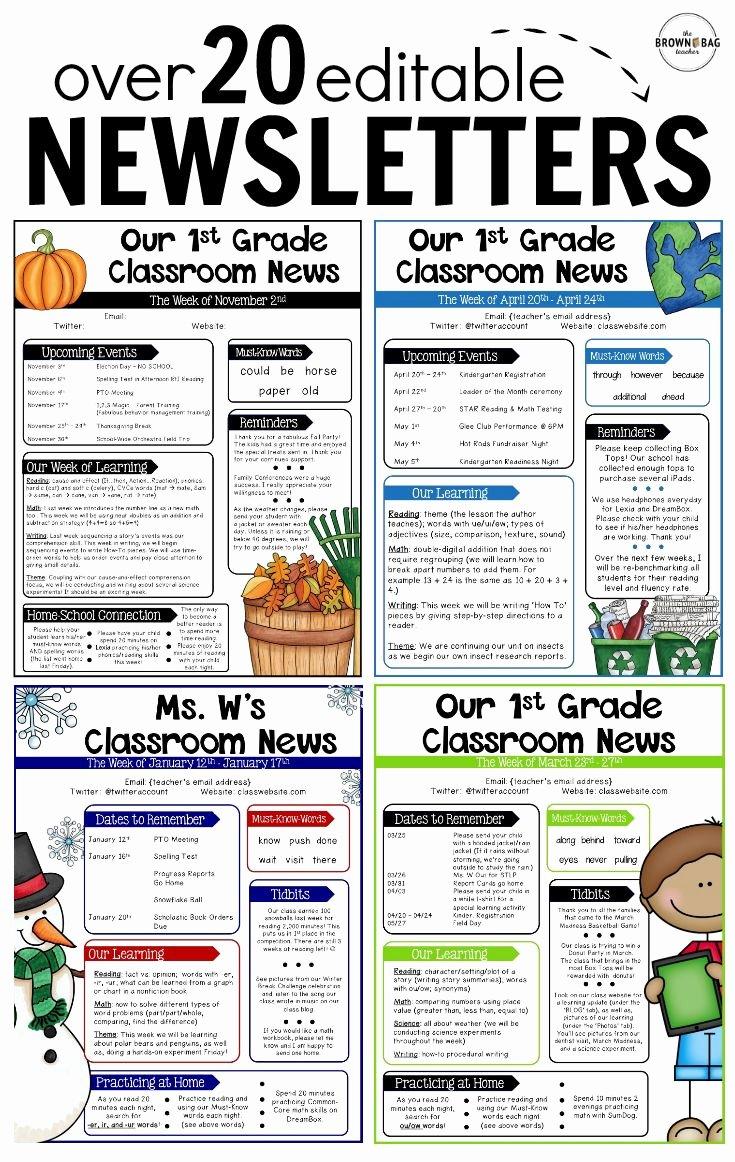 3rd Grade Newsletter Template Beautiful Editable Newsletter Templates Back to School