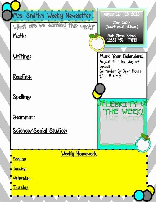 3rd Grade Newsletter Template Best Of 1000 Ideas About Kindergarten Newsletter On Pinterest