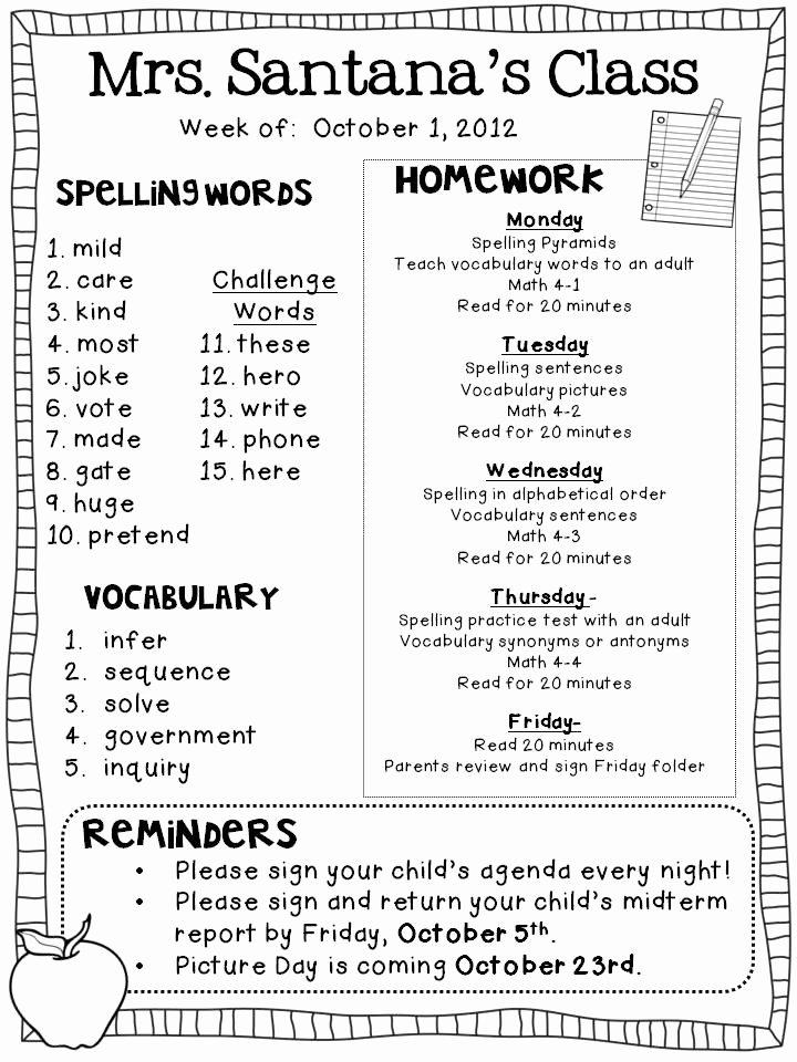 3rd Grade Newsletter Template Best Of Weekly Homework Freebie the Learning Tree