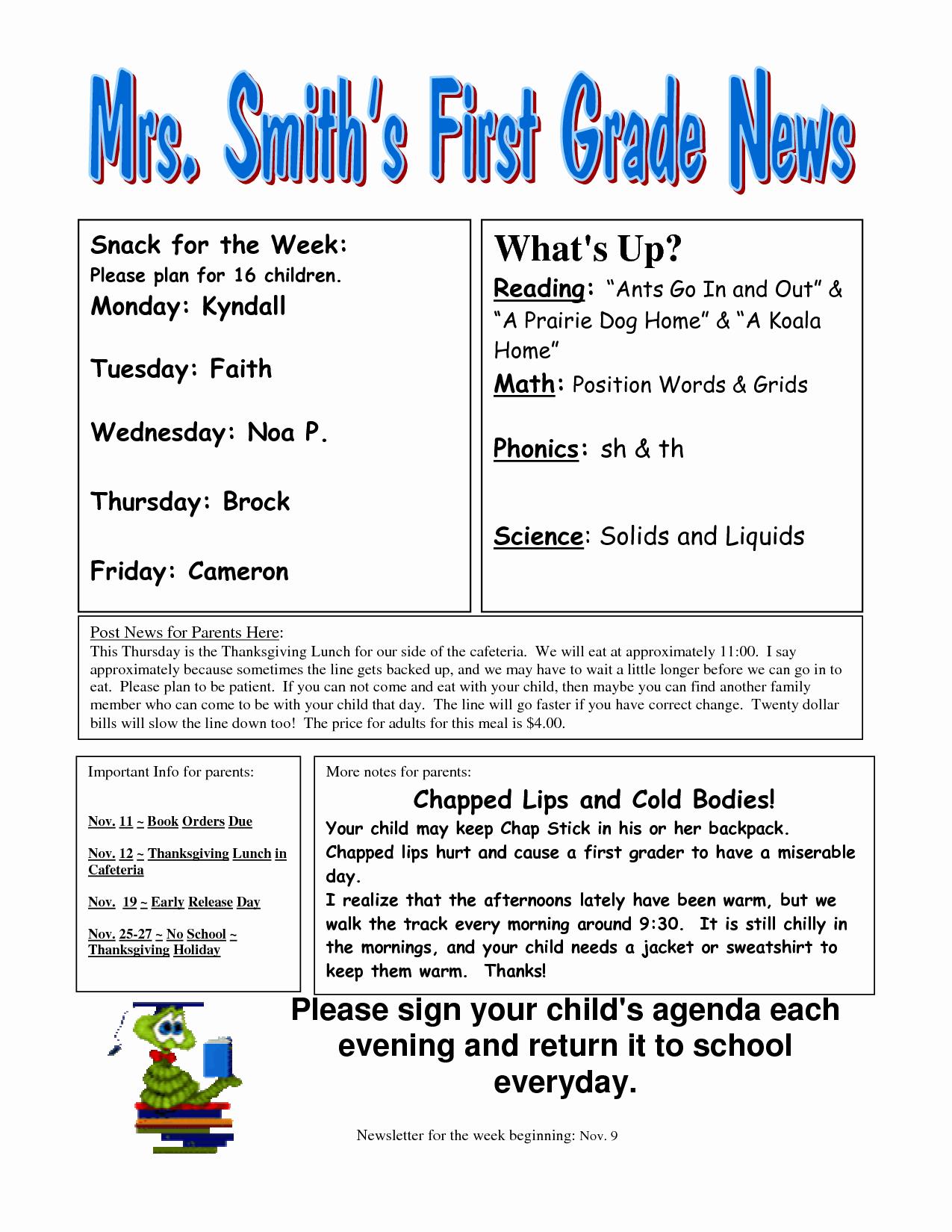 3rd Grade Newsletter Template Elegant Best S Of Newsletter Examples Grade 1 Classroom