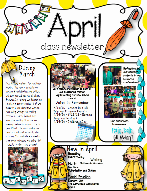3rd Grade Newsletter Template Elegant Classroom Newsletter Ms Ninow S 3rd Grade Class