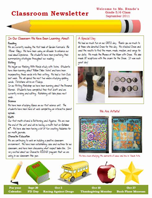 3rd Grade Newsletter Template Elegant Runde S Room My New Classroom Newsletter