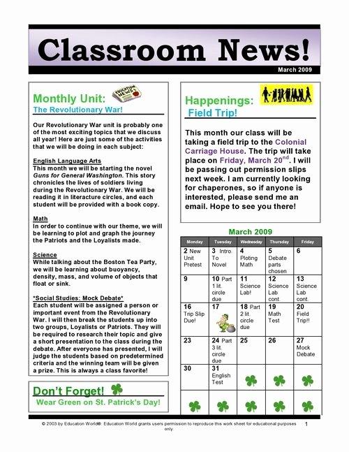 3rd Grade Newsletter Template Lovely 1 Classroom Newsletter – Provide Information for Students