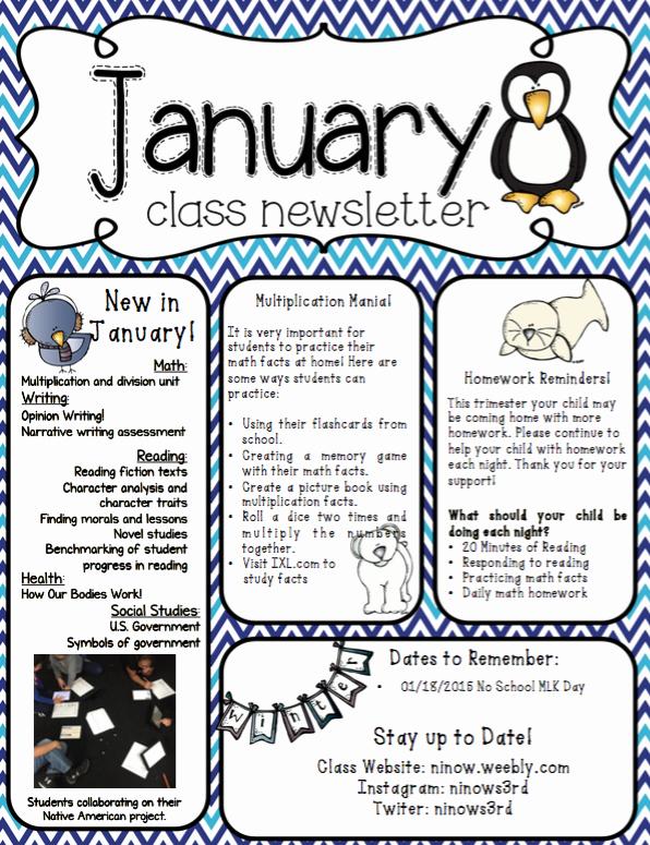 3rd Grade Newsletter Template New Classroom Newsletter Ms Ninow S 3rd Grade Class