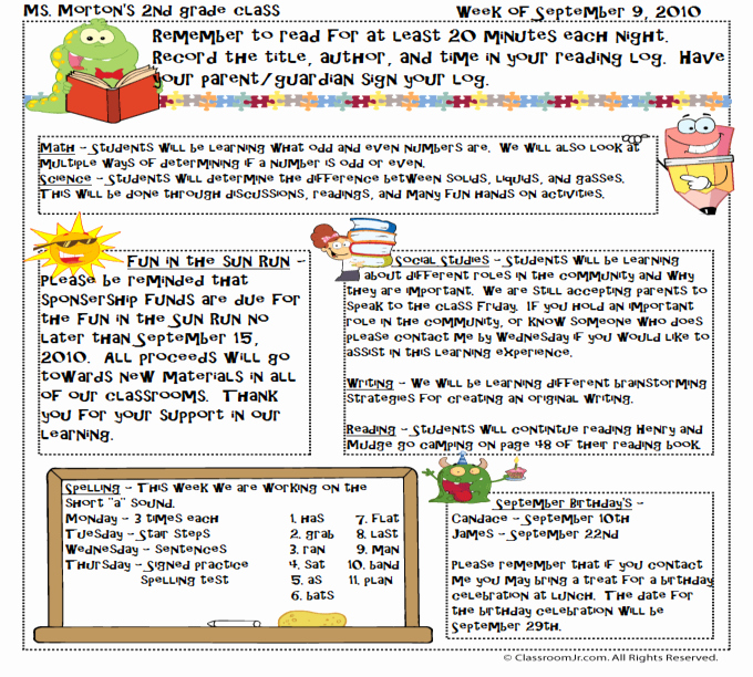 3rd Grade Newsletter Template New Free Teacher Newsletter Templates Downloads