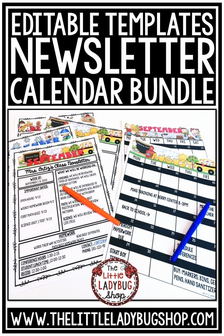 3rd Grade Newsletter Template Unique Editable Monthly Calendar 2019 2020 & Weekly Newsletter