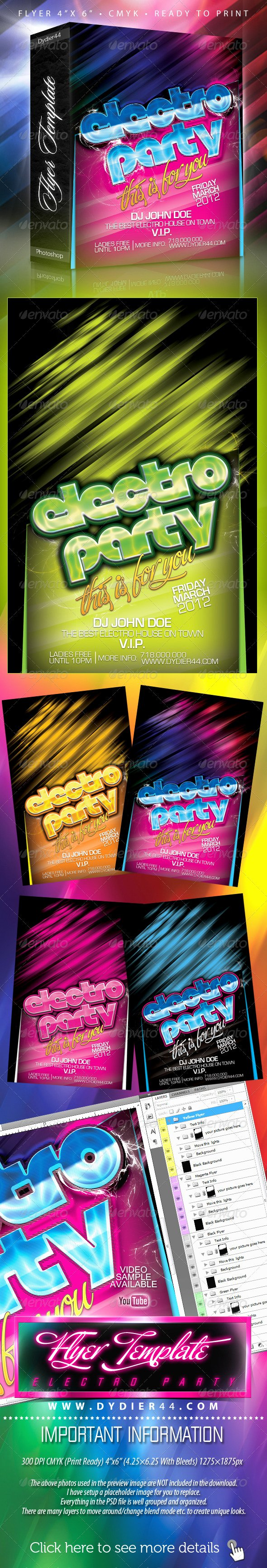 4x6 Flyer Template Elegant Electro Party Flyer Template 4x6 by Dy R44