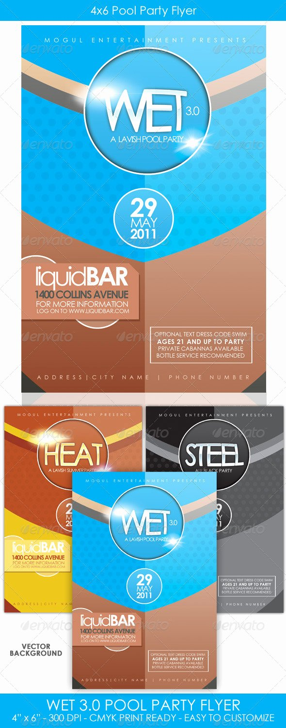 4x6 Flyer Template Luxury Wet 3 0 4x6 Simple Pool Party Flyer