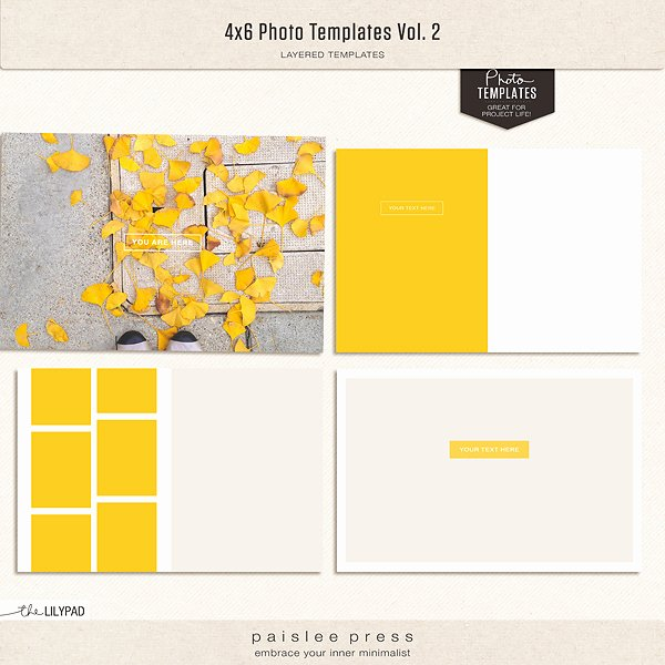 4x6 Photo Template Elegant Digital Scrapbooking Templates
