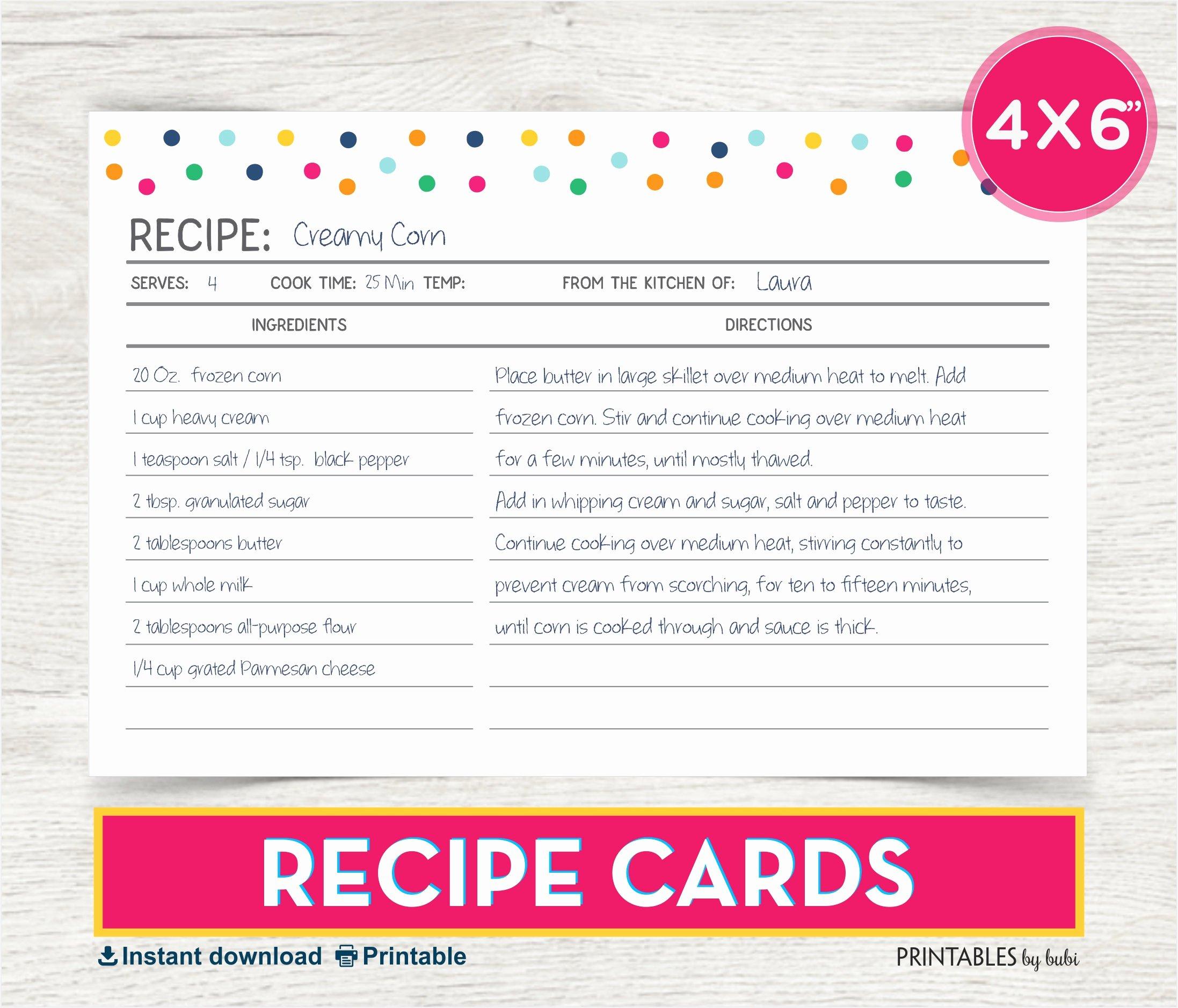 4x6 Photo Template Fresh Recipe Card 4x6 Recipe Card Printable Recipe Recipe Cards