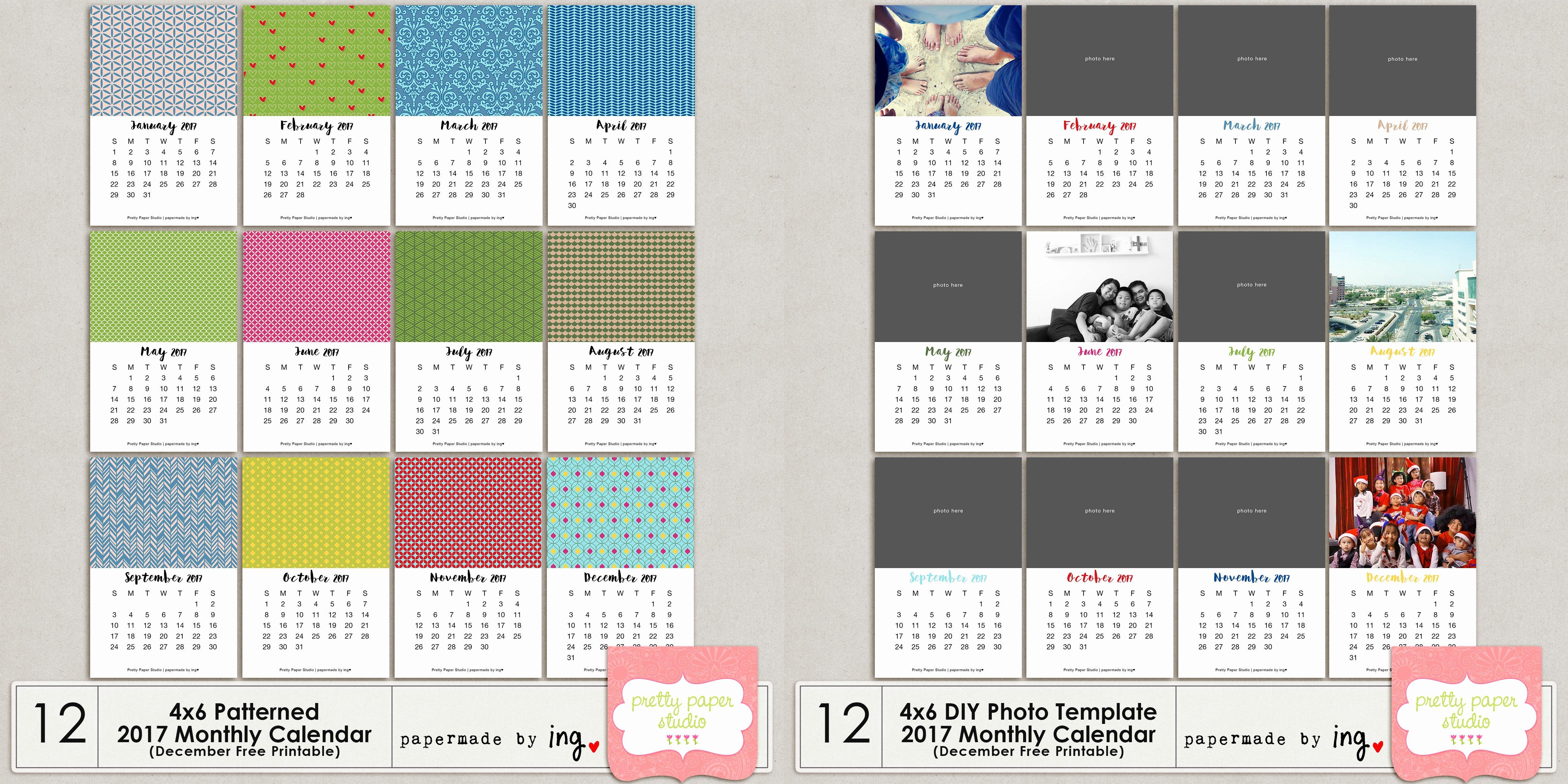 4x6 Photo Template Unique 4x6 Diy Template 2017 Monthly Calendar