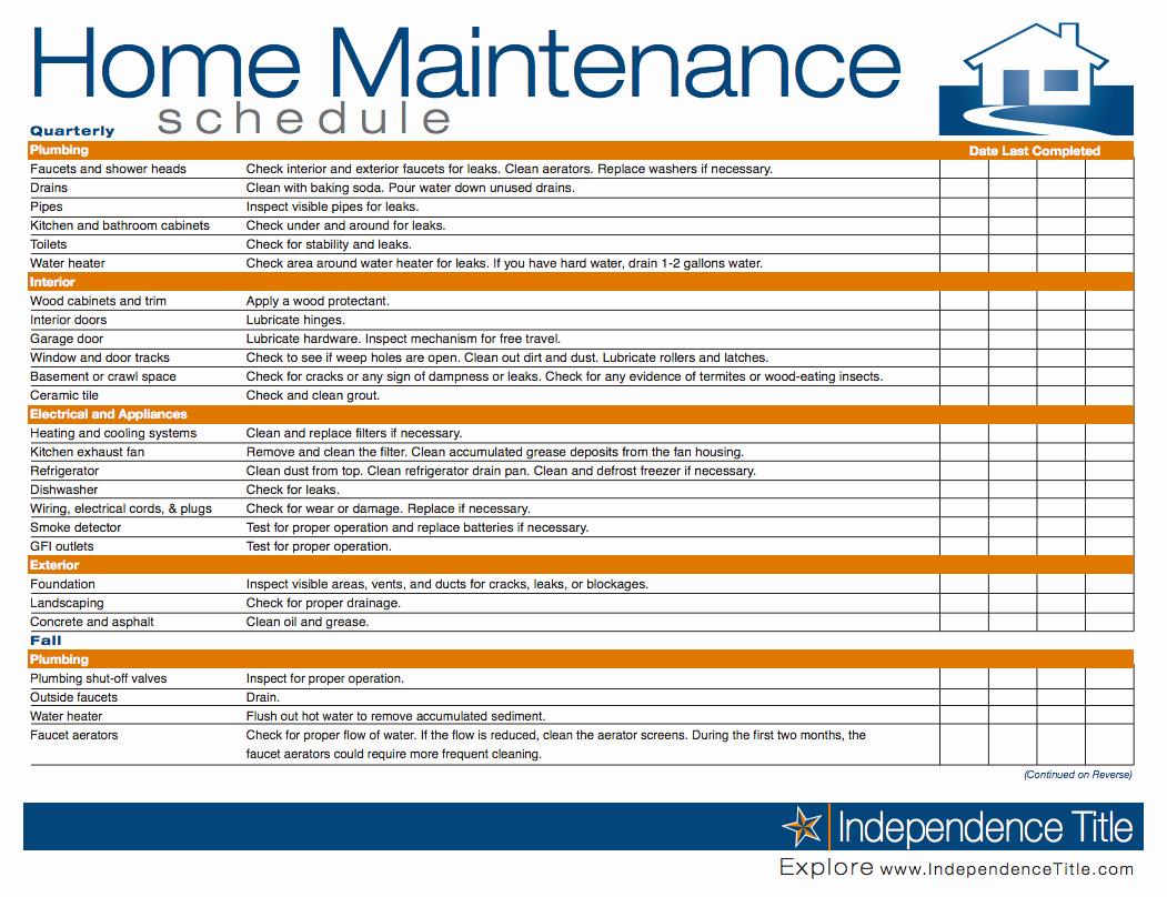 5 Year Maintenance Plan Template Unique Home Maintenance Schedule …