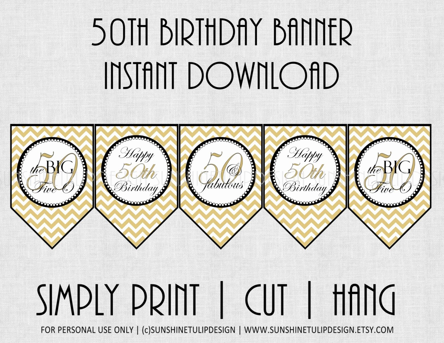 50th Birthday Banner Ideas Best Of 50th Birthday Banner Chevron Black and Gold by