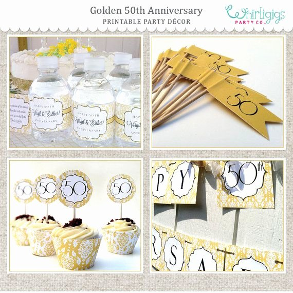 50th Birthday Banner Ideas Elegant 50th Golden Anniversary Printable Party